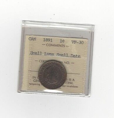 **1891 SL/SD Obv. #3**,ICCS Graded Canadian, Large One Cent, **VF-30**