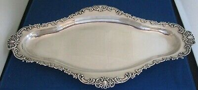 """Large 16"""" Sterling Silver Tiffany Tray with floral rim Circa 1892-1902"""