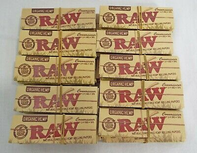 Raw Connoisseur 1 1/4 Size Rolling Papers and Tips Organic Hemp Lot of 20 Packs