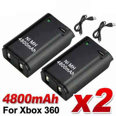 2 Rechargeable Battery + USB Charger Cable Pack for XBOX 360 Wireless Controller
