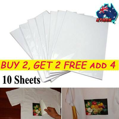 10x A4 Heat Transfer Iron-On Paper For Light& Dark Fabric Cloth T-Shirt Painting