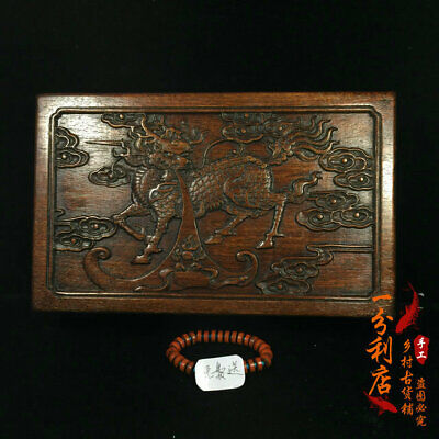 Exquisite Chinese antiques handmade Rosewood kylin  Jewelry box cv10