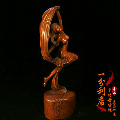 Exquisite Chinese antiques handmade  Boxwood  personage statue cv35