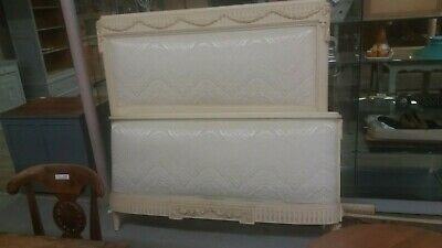 Stunning Original Painted Antique French Carved Double Bed Reupholstered