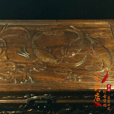 Exquisite Chinese antiques handmade Rosewood  fish Jewelry box cv47