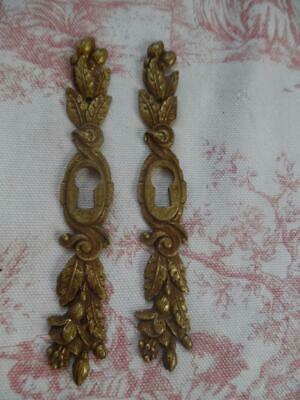 Pair Of Antique French Brass Escutcheon Plates / Keyholes (E18)