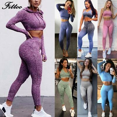 Womens Seamless 2pcs Yoga Suit Crop Top+Leggings Bra Pants Sports Set Gym Outfit