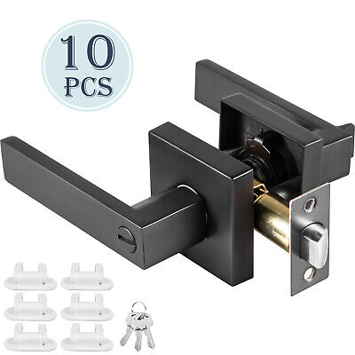 Square Door Lever Handle Knob 10 Pack Keyed Entry Lock Set Heavy Duty Zinc Alloy