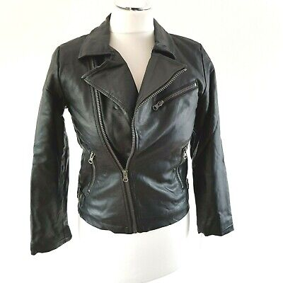 Respect Kids Black faux leather biker jacket age 9-10 good condition