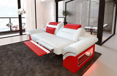 Sofa Leather Two Seater Monza 2 Seat Couch LED Luxury Sofa Bed Bed Function LED