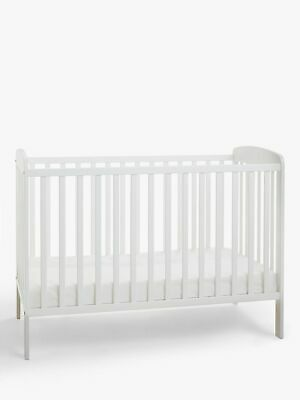 John Lewis & Partners Esther White Cot Bed Baby Wooden Toddler Safety Birchwood