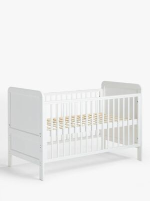 John Lewis & Partners Solid White Cotbed Toddler Wooden Baby Cot Bed Pine Safe
