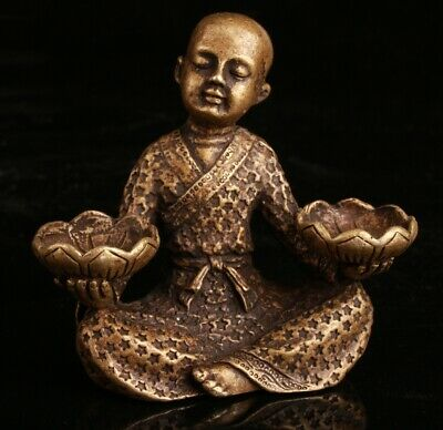 China Old Bronze Hand Carving Buddhist Children Statue Decoration Collec