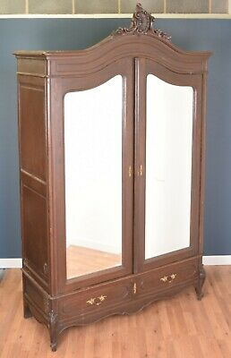 Antique Oak French Louis XV Style Armoire Wardrobe Mirrored DELIVERY AVAILABLE