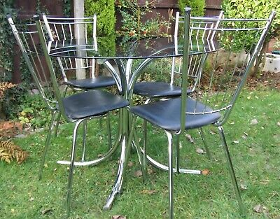 Vintage Circular Glass Top Chrome Kitchen Dining Table & Chairs