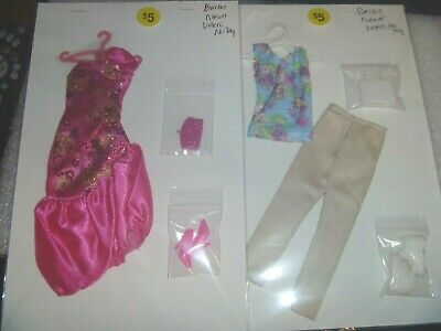 2 Barbie Outfits~*~Dress and Pants Set With Shoes, Hangers & Purses
