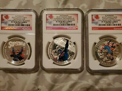2015 Canada Superman 3-Coin Silver Set - Ngc Pf70 First Releases - Only 8 Exist
