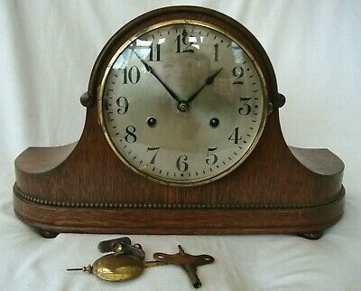 Antique Oak Cased Steel Dial Clock Chimbing Movement Hac Wurttemburg Germany