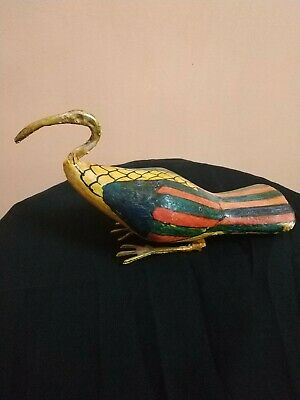 Very Rare Bead Ibis Bronze & Wood Sculpture Egyptian Antique Thoth God Figurine