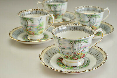 """Vintage Royal Albert """"Silver Birch""""  Tea Cup and Saucer - Set of Four"""