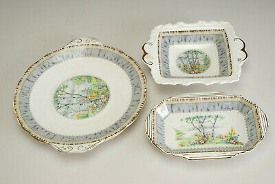 """Vintage Royal Albert """"Silver Birch""""  Cake Plate and Dessert Tray Candy Dish"""