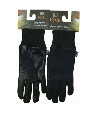 Ryda Ladies Winter Leather Horse Riding Gloves Fleece Backed