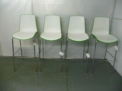 Set of 4 Bar Stools In White & Green