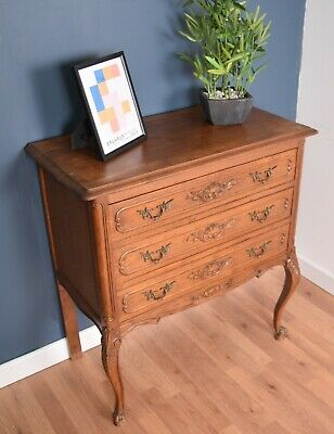 Antique Carved French Louis XV Style Chest Of Three Drawers DELIVERY AVAILABLE