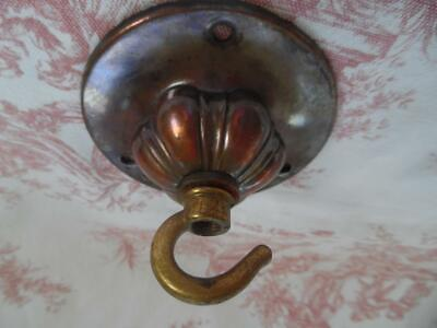 Genuine Antique Brass Ceiling Hook/Rose For Light Or Chandelier