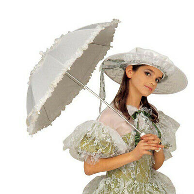 Further Rüschenschirm Umbrella with Lace Lace Umbrella White Sunshade Carnival