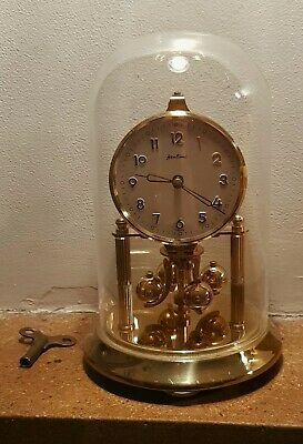 Vintage Bentima Kern 400 Day Anniversary  Torsion Clock Brass Glass Dome