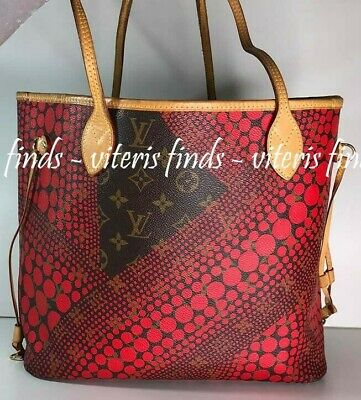 Auth Louis Vuitton Neverfull MM Yayoi Kusama Monogram Canvas Red Shoulder Bag