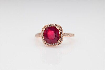 Estate $2000 3ct Natural Ruby White Sapphire Sterling Silver 14k Rose Gold Ring