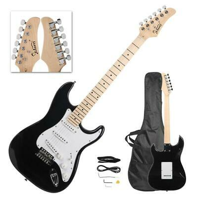 Maple Black Electric Guitar w/ Case and Accessories Pack for Beginner