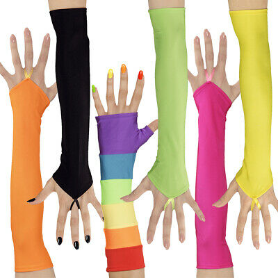 METALLIC ARM WARMERS SHINY GAUNTLETS SLEEVE RAVE PARTY FESTIVAL LONG GLOVES