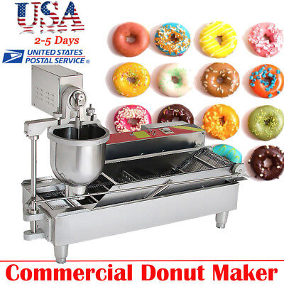 Commercial Automatic Donut Maker Dessert Making Machine,Wide Oil Tank,3Sets Mold
