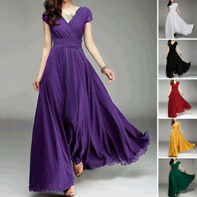 Womens V Neck Short Sleeve Maxi Swing Dress Lady Formal Sexy Cocktail Prom Gown
