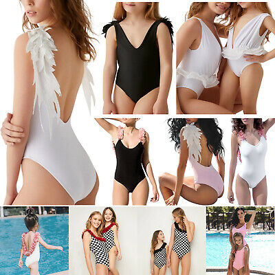 Womens Girls One-piece Swimsuit Solid Color Kids Swimwear Parent-Child Bathing