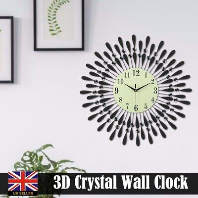 60CM Extra Large Metal Diamond Wall Clock Big Glant Open Face Round Wall Decor
