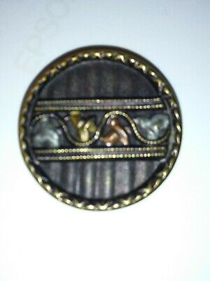 Antique Victorian Picture Button. Stamped & Tinted Brass Leaves. Large #12