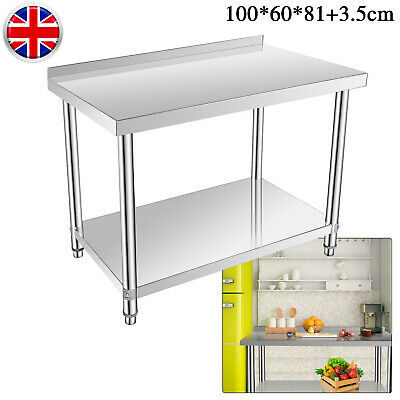 Stainless Steel Commercial Double-Layer Catering Table Work Bench Kitchen Top UK