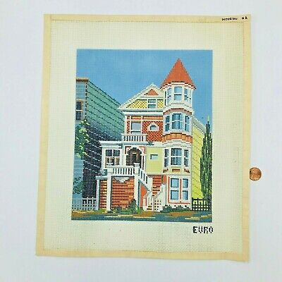Hand Painted Needlepoint Pattern San Francisco Victorian House Painted Lady Euro