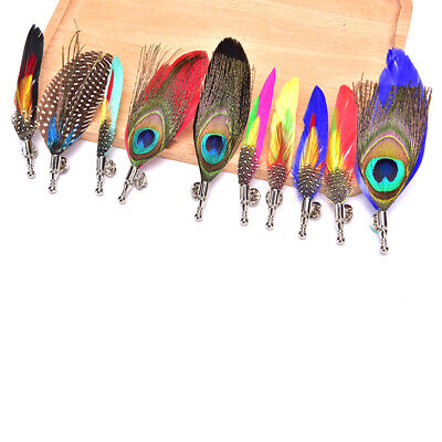 Handmade Peacock Pheasant Feather Brooch Hat Lapel Pin Suit Wedding Accessor EW