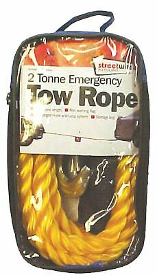 Streetwize SWTR25 2.5T Braided Tow Rope 2.5 Tonne Blue 2 Metal S Hooks