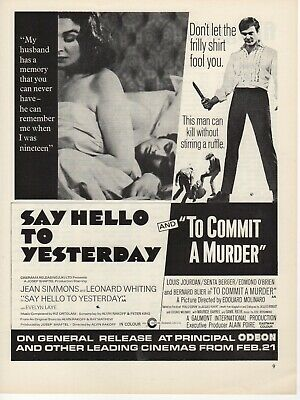 Original A4 Film Advert Say Hello To Yesterday Jean Simmons To Commit A Murder