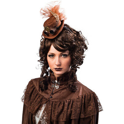Steampunk Mini Hat Braun Chic Gothic Headdress Women's Hair Accessories Feathers