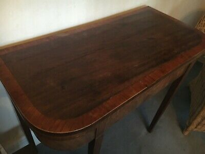 ANTIQUE 19th CENTURY MAHOGANY FOLD OVER CARD TABLE