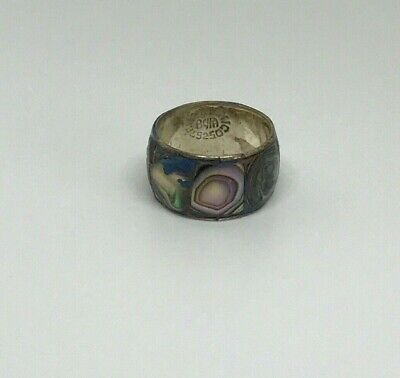 Vintage 925 Mexico Sterling Silver Abalone Band Ring Size 6