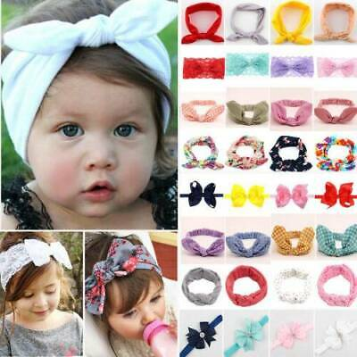 Baby Girls Bunny Kids Ribbon Knot Rabbit Headband Bow Hair Bands Head Wrap Bows