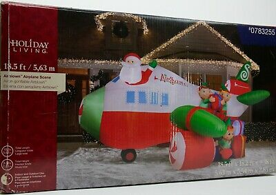 CHRISTMAS SANTA  AIRPLANE WITH BANNER PLANE AIRBLOWN INFLATABLE HUGE 16 FT